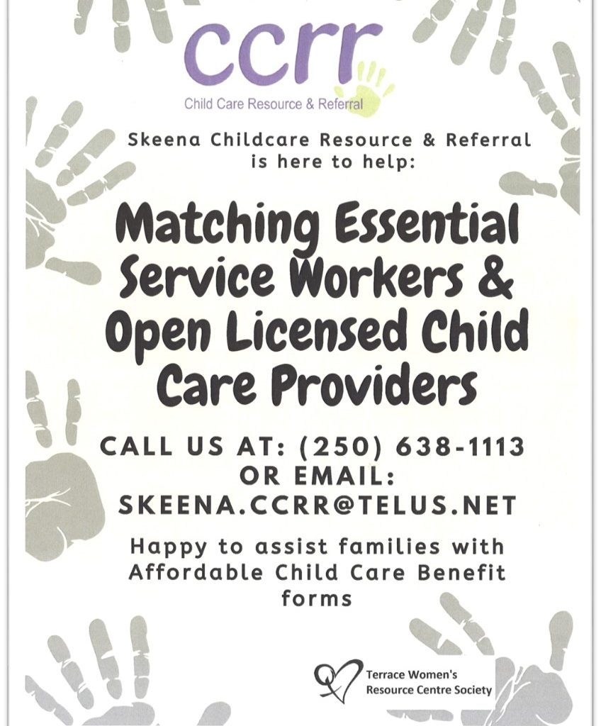 TWRCS Matching Essential Service workers and open licensed child care providers Poster