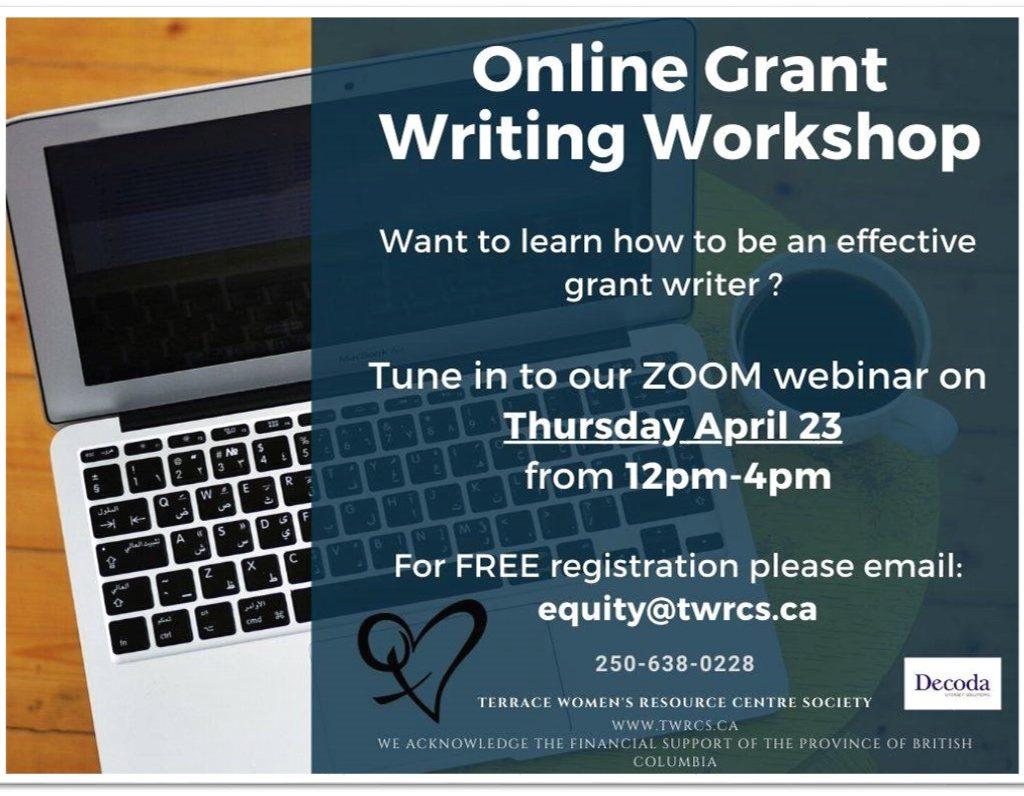TWRCS online grant writing workshop Poster